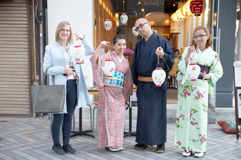 Kimono Tour Participants with Lantern