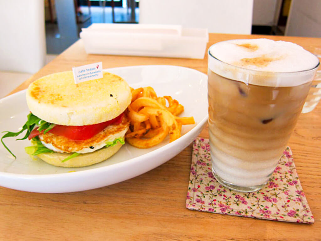 Cafe Teaser Morning Set with egg muffin, one of its 14 options.
