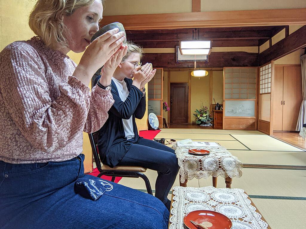 Drinking tea at a tea ceremony