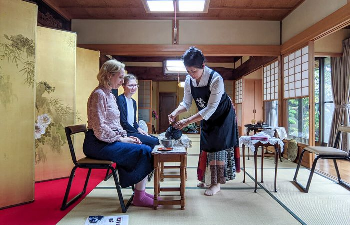 Pouring water at a casual tea ceremony