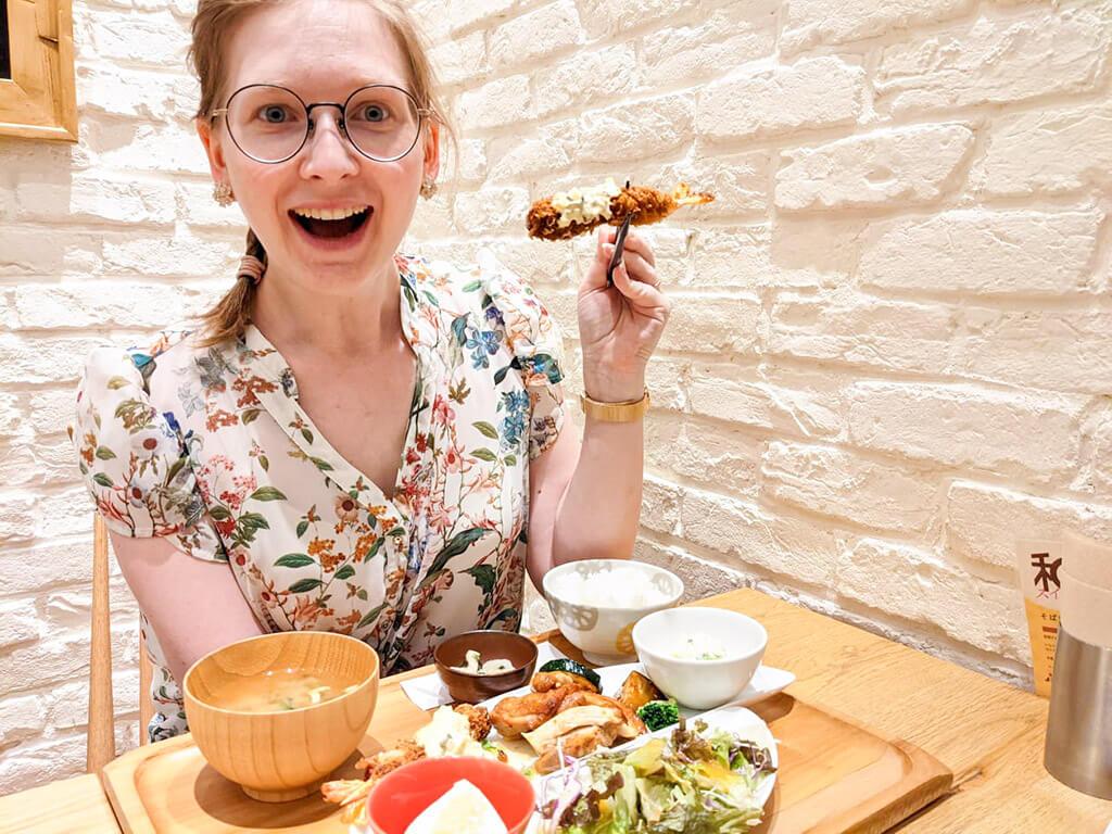 Lena eating Ebi Furai